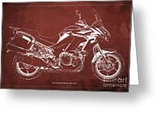 2018 Kawasaki Versys 1000 Lt Abs Blueprint Old Vintage Red Background Original Artwork Greeting Card
