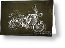 2018 Triumph Street Triple R Blueprint, Vintage Brown Background,gift For Him Greeting Card