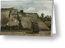 A Peasant Woman Digging In Front Of Her Cottage Greeting Card
