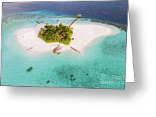 Aerial Drone View Of A Tropical Island, Maldives Greeting Card