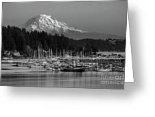 Gig Harbor Marina With Mount Rainier In The Background Greeting Card