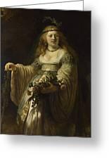 Saskia Van Uylenburgh In Arcadian Costume  Greeting Card
