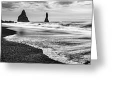 The Dramatic Black Sand Beach Of Reynisfjara. Greeting Card