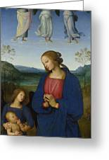The Virgin And Child With An Angel  Greeting Card