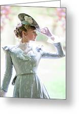 Victorian Woman In The Garden Greeting Card