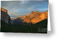 View Of Yosemite Valley From Tunnel View Point At Sunset Greeting Card