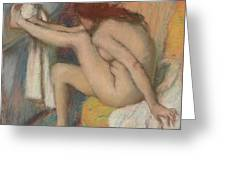 Woman Drying Her Foot  Greeting Card