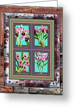 Antique Orchids Quatro On Rusted Metal And Weathered Wood Plank Greeting Card