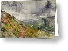 Digital Watercolor Painting Of Landscape Image Of View From Prec Greeting Card