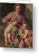 Madonna And Child With The Infant Saint John The Baptist Greeting Card