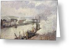 Steamboats In The Port Of Rouen  Greeting Card