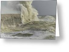 Stunning Dangerous High Waves Crashing Over Harbor Wall During W Greeting Card