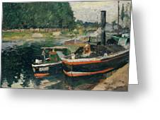 Barges At Pontoise  Greeting Card