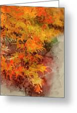 Digital Watercolor Painting Of Beautiful Colorful Vibrant Red An Greeting Card