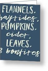 Flannels Hayrides And Pumpkins Fall Tshirt Greeting Card