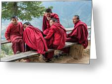 5 Monks On A Break Greeting Card
