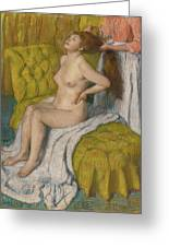Woman Having Her Hair Combed  Greeting Card