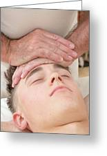 Teenage Boy Laying On A Massage Table Greeting Card