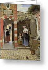 The Courtyard Of A House In Delft  Greeting Card