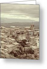 Beautiful Medieval Spanish Village In Sepia Tone Greeting Card
