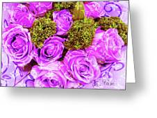 Lv With Lilac Roses  Greeting Card