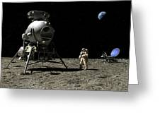 A Cosmonaut On The Moon Greeting Card