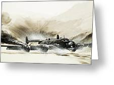 A Crippled Halifax Bomber Lands On The Ice Greeting Card