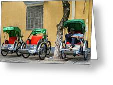 A Cyclo Driver Takes A Nap, In Hoi An, Vietnam. Greeting Card