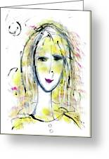 A Girl By The Artist Catalina Lira Greeting Card