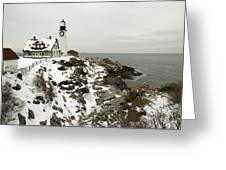 A Large Wreath Is Hung On Portland Head Greeting Card