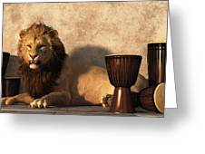 A Lion Among Drums Greeting Card