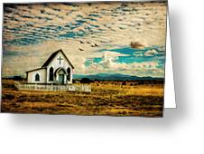 A Lone Prairie Church Greeting Card by Lou Novick