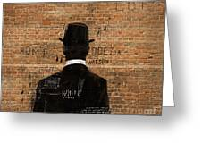A Man In A Hat Who Turned His Back On Us Greeting Card