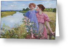 A Mother And Child By A River With Wild Roses 1919 Greeting Card