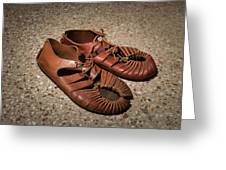 A Pair Of Roman Sandals Made Of Leather Greeting Card