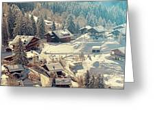 A Quaint Village In The Swiss Alps Greeting Card
