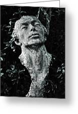 A Stone Bust In The Forest Greeting Card