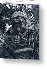 A Stone Gargoyle In The Woods Greeting Card