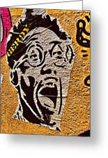 A Terrified Face On A Barcelona Wall  Greeting Card