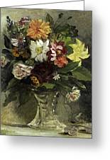 A Vase Of Flowers, 1833 Greeting Card