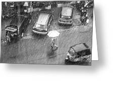 A Woman Rushes To Cross The Street Greeting Card