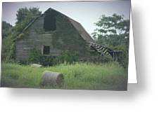 Abandoned Barn And Hay Roll 2018c Greeting Card