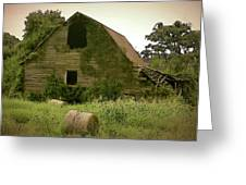 Abandoned Barn And Hay Roll 2018d Greeting Card