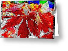 Abstract Fall Acer Stained Glass  Greeting Card