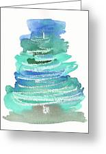 Abstract Fir Tree Christmas Watercolor Painting Greeting Card