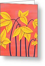 Abstract Flowers Geometric Art In Vibrant Coral And Yellow  Greeting Card