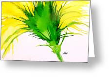 Abstract Ink Yellow Flower Greeting Card