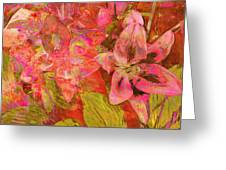 Abstract Pink Lilies Greeting Card