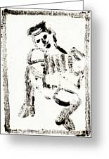Accordion After Mikhail Larionov Black Ink Painting 1 Greeting Card