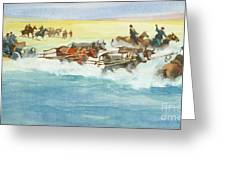 Action From A Ten Thousand Mile Motor Race Greeting Card